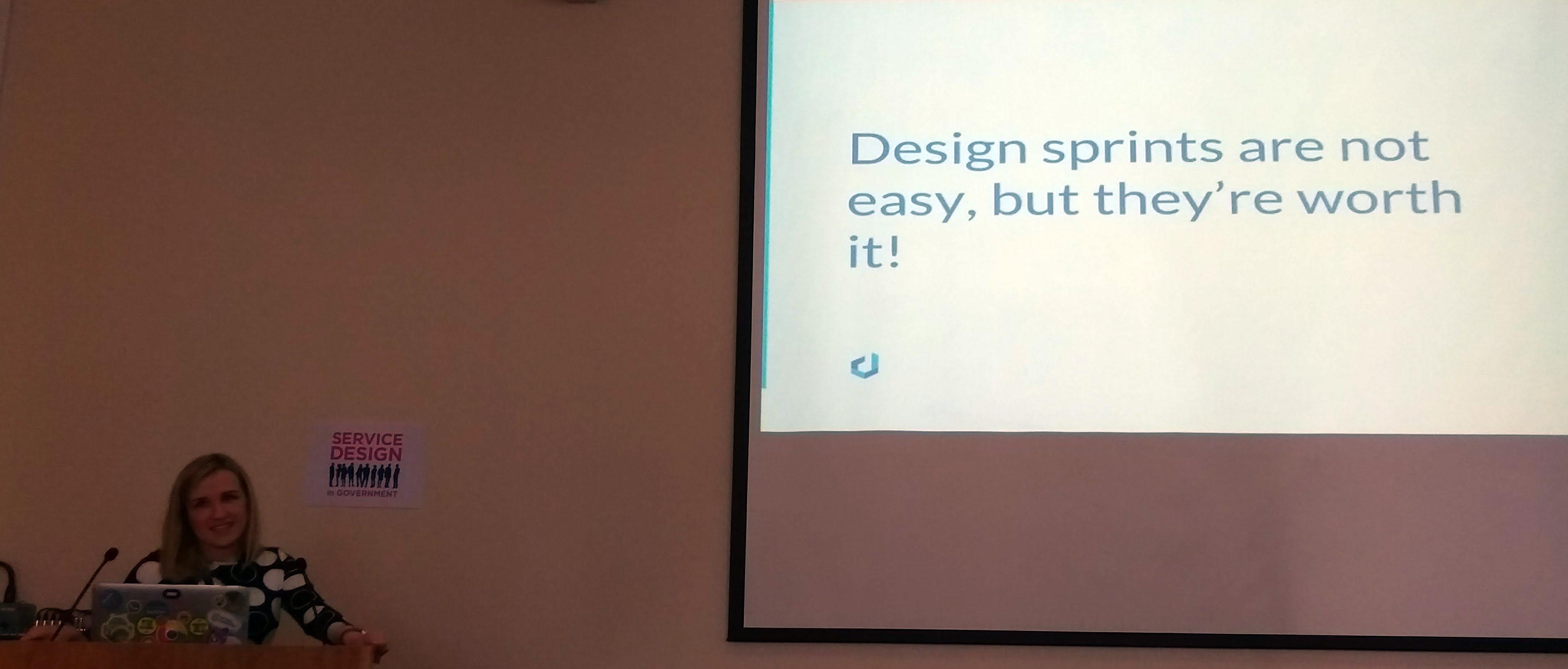 Vita Mangan speaking about design sprints