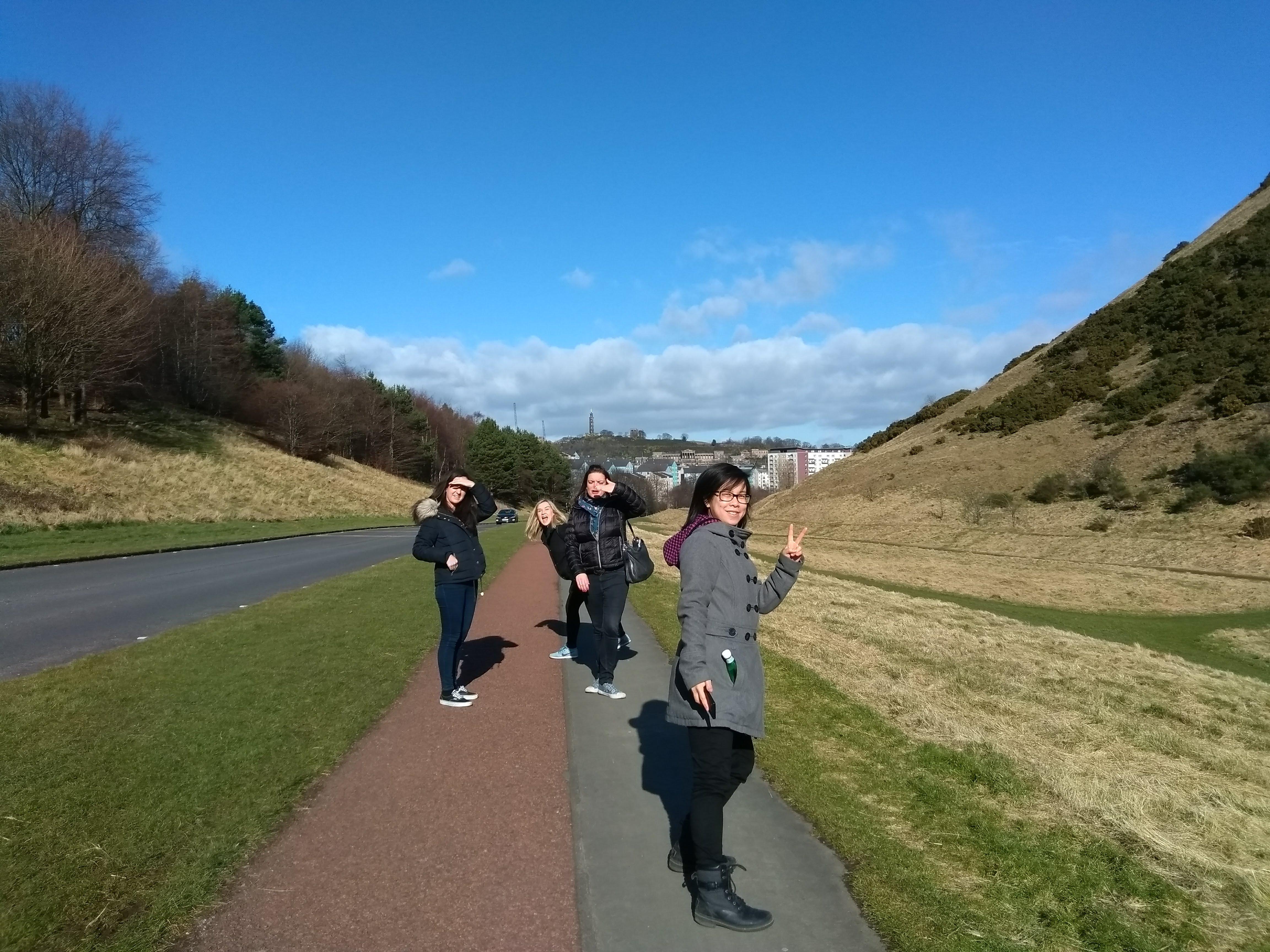 dxw team on a walk in sunny Edinburgh