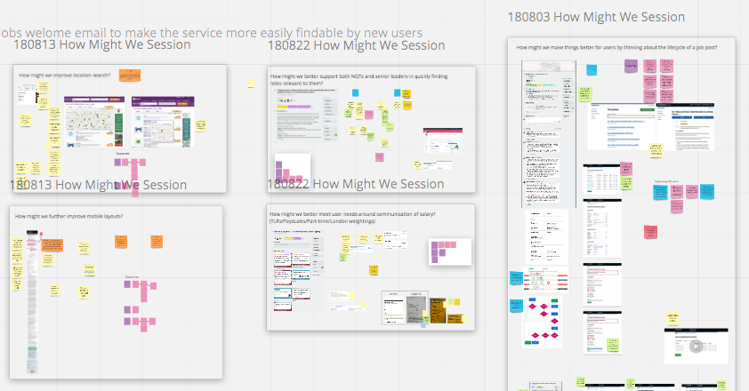 """A Miro board showing post its, prototypes, and diagrams used during a """"How might we"""" session"""