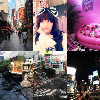 A collage of images of Charlotte and Japan