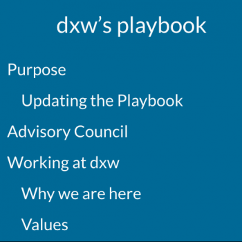 Screenshot of the some of the contents of the Playbook