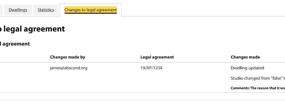 Screenshot of how the council can make changes to the legal agreement