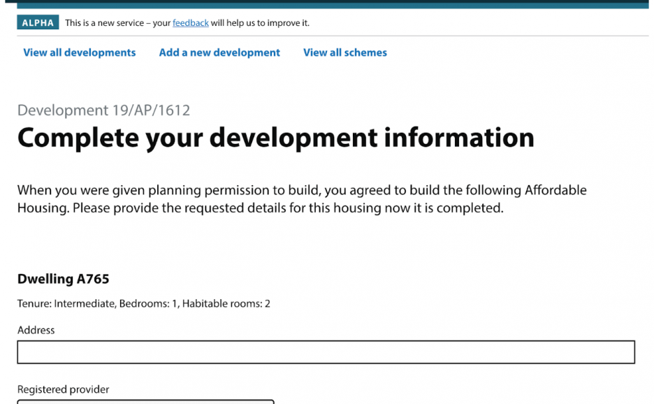 A screenshot of the step where developers add address information to completed homes in a development
