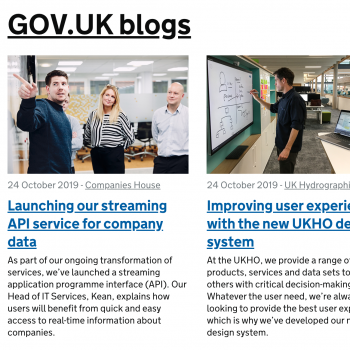 Screenshot of the government blogging platform