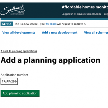 Screenshot of the affordable housing monitoring service