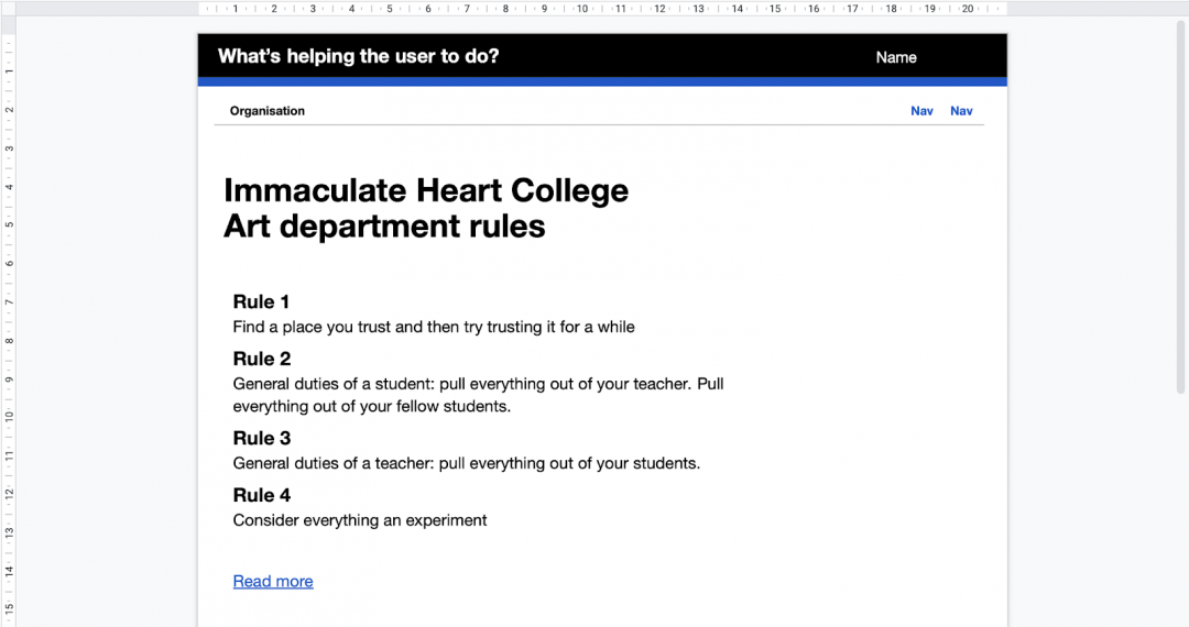 Screenshot from google slides showing the template