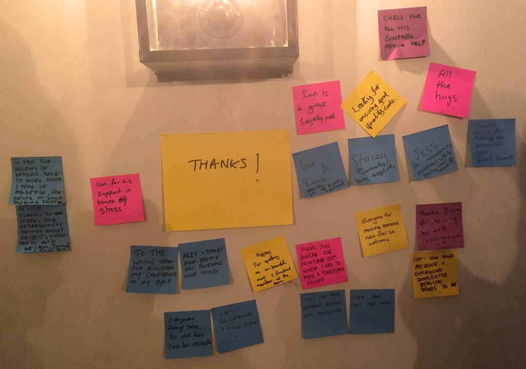 Thanks on post-it notes