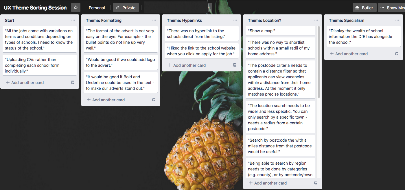 Trello being used to sort themes for affinity mapping