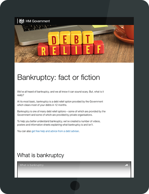 Bankruptcy campaign site on tablet