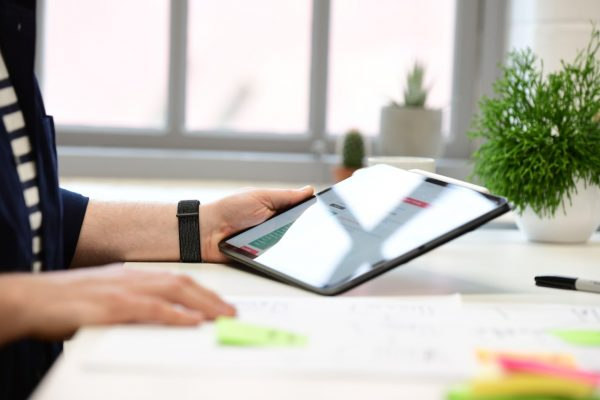 A person using a tablet