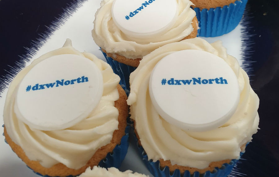 Cupcakes with #dxwNorth written on them