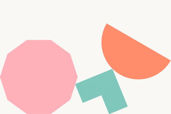 3 coloured shapes