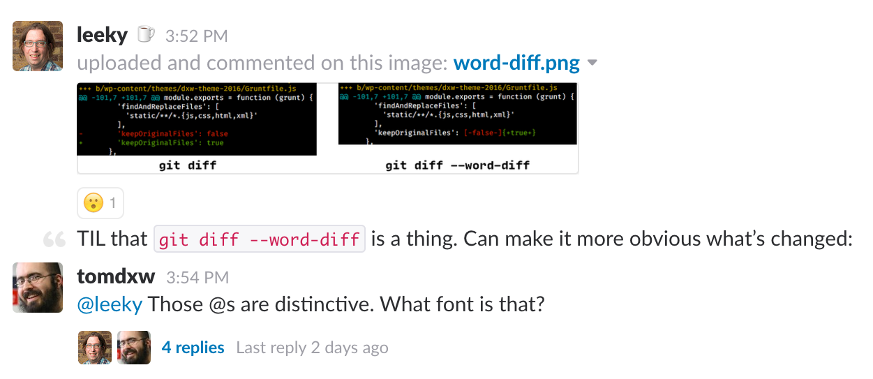 #todayilearned slack channel screenshot, git diff --word-diff