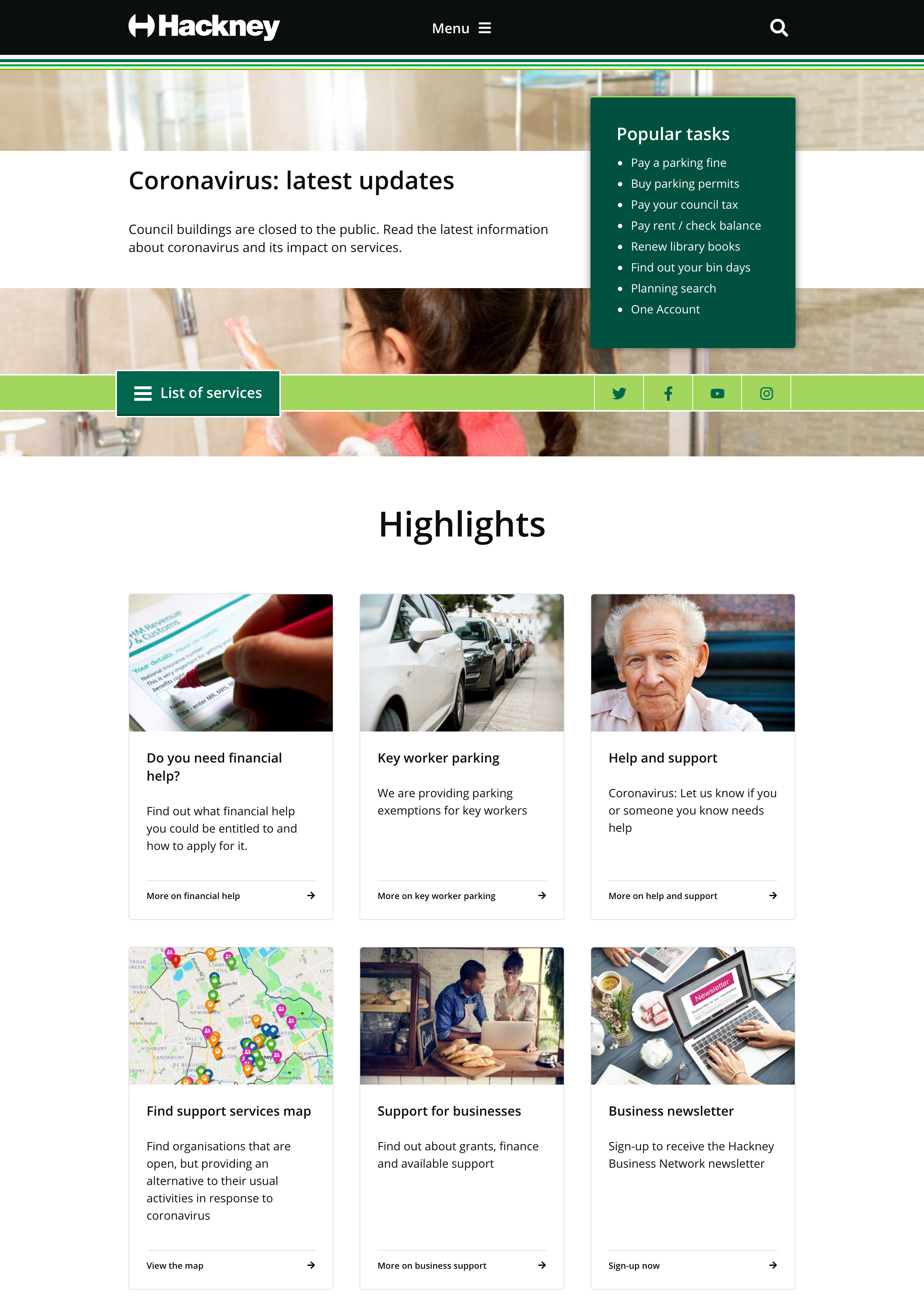 The Hackney Council homepage with the new typeface