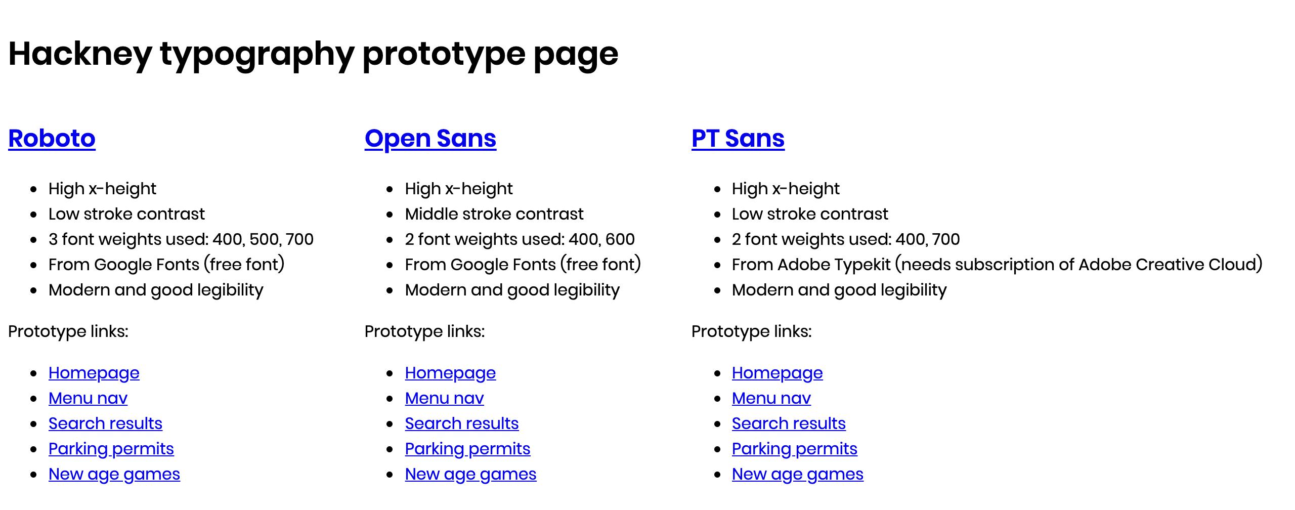 The prototype page on Heroku