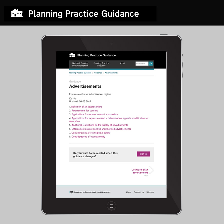 Planning Guidance on tablet