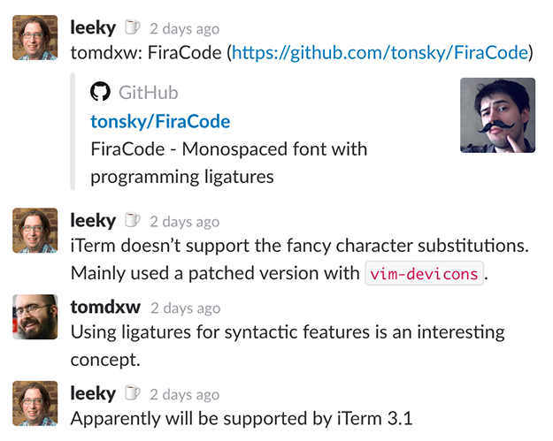 #todayilearned slack channel screenshot, FiraCode font conversation