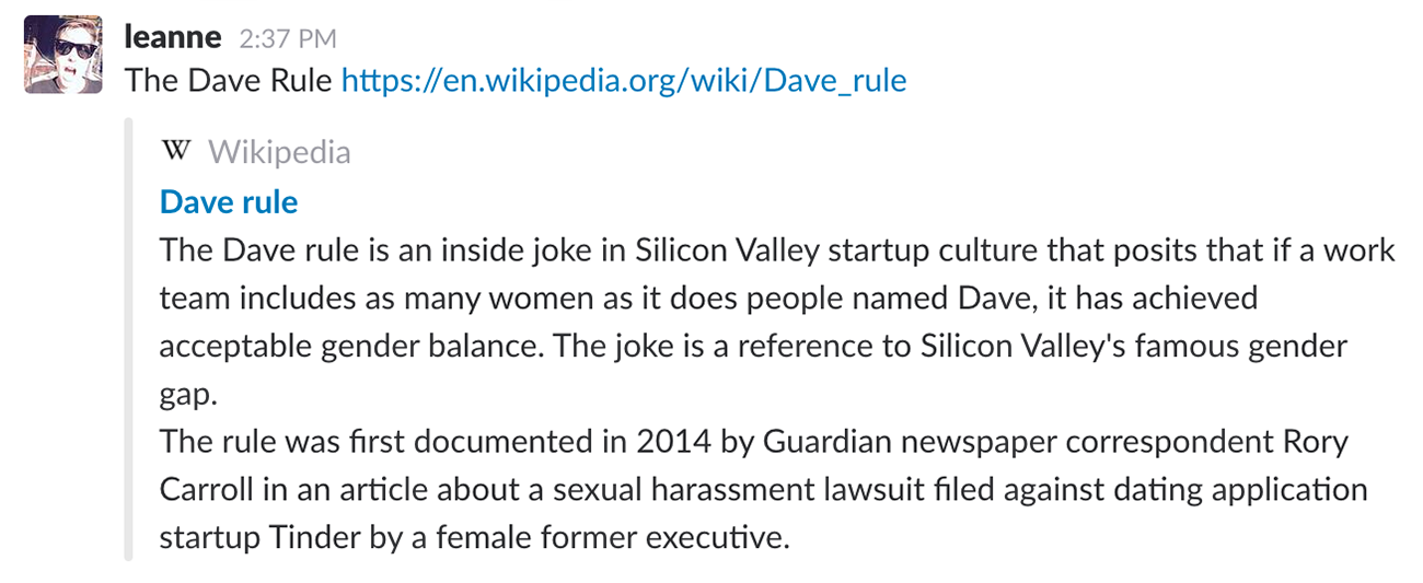 #todayilearned slack channel screenshot, Dave rule