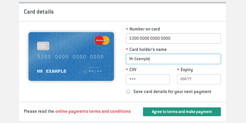 TVH card payment