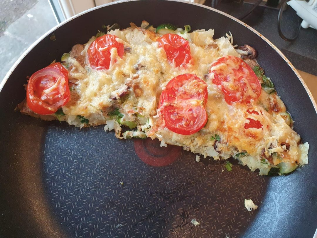 Cat's frittata made from veg past its best