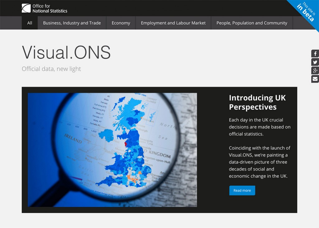 Visual.ONS homepage screenshot